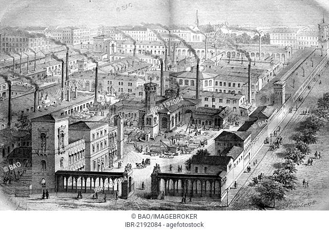 Borsig's iron foundry and locomotive factory at Oranienburg Gate in Berlin, Germany, historical engraving, 1888