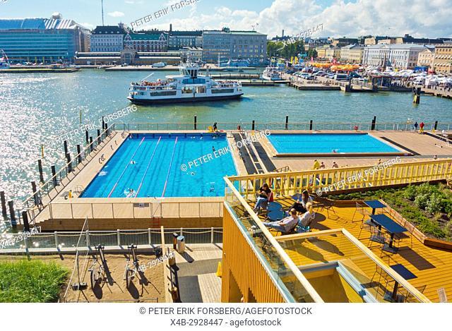Allas sea pool, swimming pools and bar terraces, Katajannokanlaituri, Helsinki, Finland
