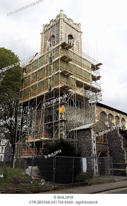 Church tower under scaffolding, Norwich, UK