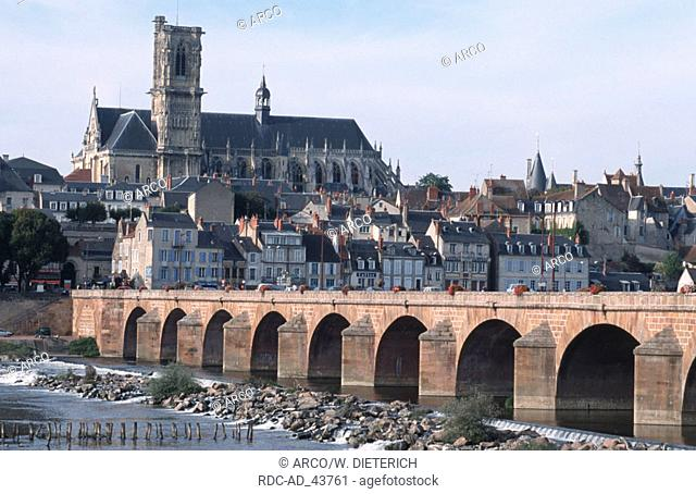 Bridge in front of cathedral Saint-Cyr-et-Sainte-Juliette Nevers Burgundy France