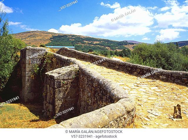 Medieval bridge. Canencia, Madrid province, Spain