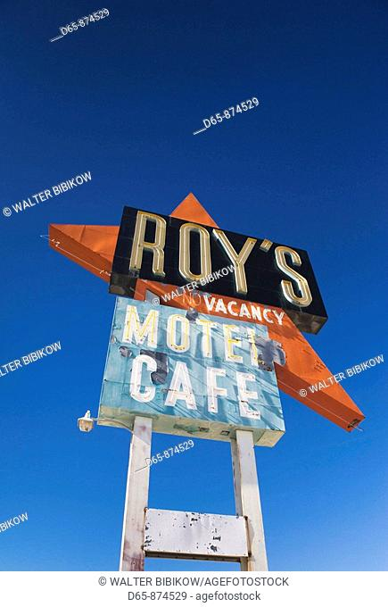 Sign for abandoned Roy's Motel, Route 66, Amboy, California, USA