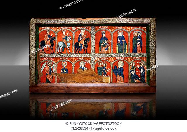 Romanesque thirteenth century painted altar front from the church of Santa Maria de Mosoll, Das, Baixa Cedanya, Spain, showing scenes from the life of the...