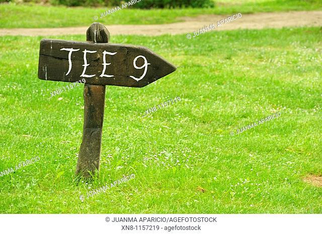 Tee 9 on the golf course Larrabea, Álava, Spain
