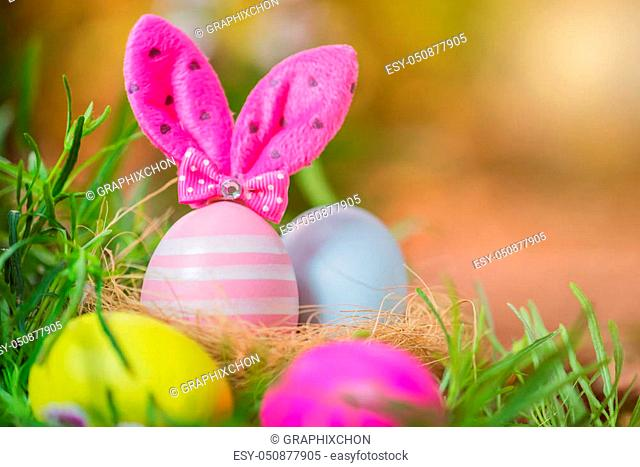 Happy Easter day, bunny and egg for celebrate in April