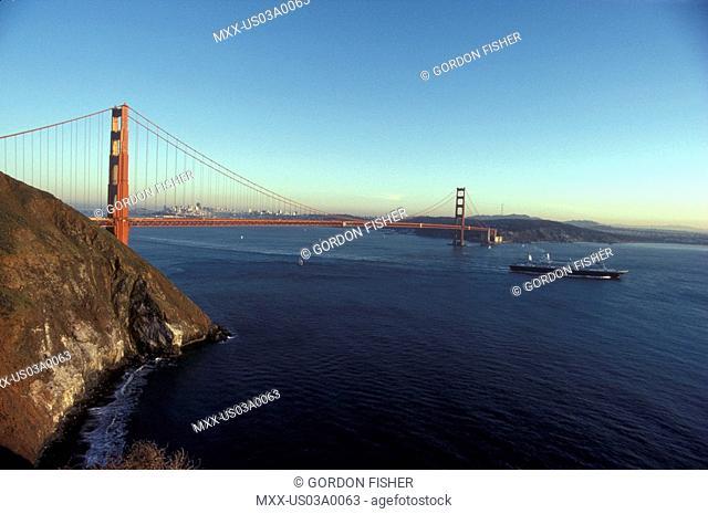 Cruise ship under Golden Gate Bridge, San Francisco, California