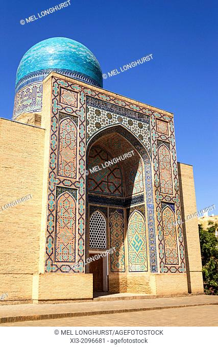 Double dome Mausoleum to Ulug Uljaoim, Shah-i-Zinda, also known as Shah I Zinda and Shah-i Zinda, Samarkand, Uzbekistan