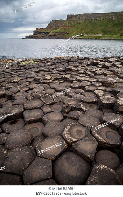 Color image of Giant's Causeway volcanic rocks in Northern Ireland