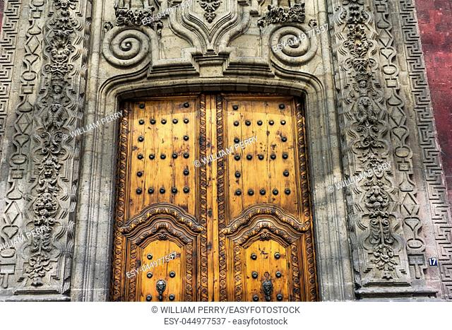 Wooden Doorway Mexican Madero Street Center of Mexico City Mexico