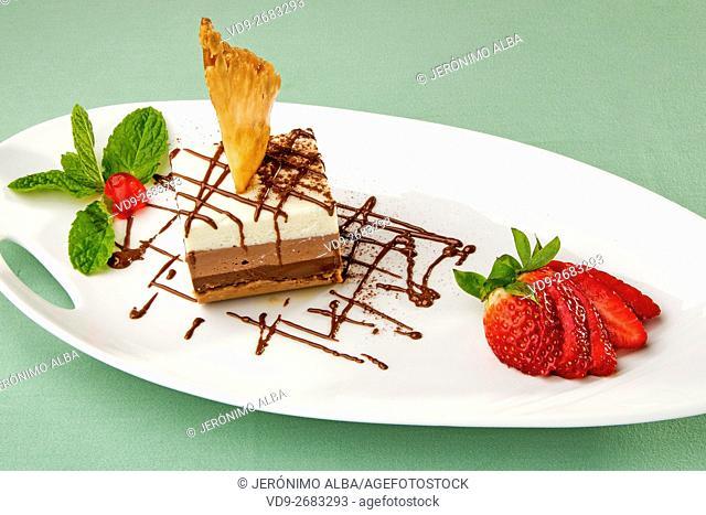 Dessert. Three flavours chocolate tart