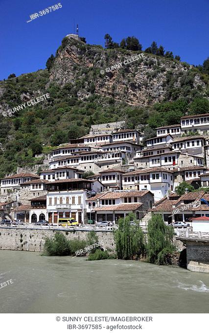 Cityscape of Berat, city of a thousand windows with the Osum River, district of Mangalem, Mangalem, Berat, Berat, Albania