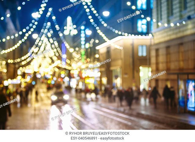 Helsinki, Finland. New Year Boke Lights Xmas Christmas Tree Decoration And Festive Illumination In Aleksanterinkatu Street
