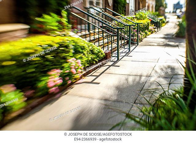 An early morning sidewalk street scene in the historical section of Charleston South Carolina