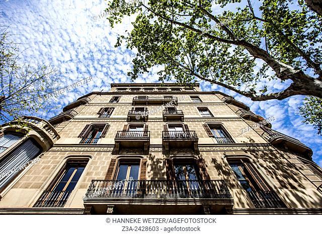 Typical Art Nouveau architecture of Barcelona, Spain