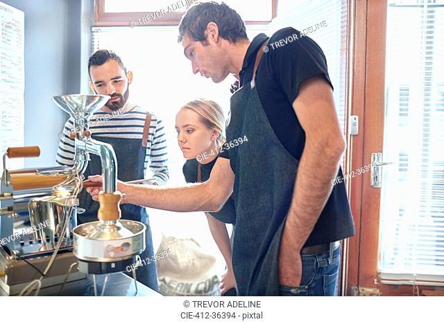 Coffee roasters testing coffee