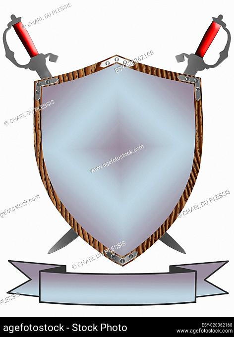 Isolated 16th Century War Shield Swords 3D