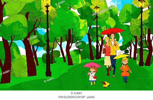 Family Holding Umbrella In Park