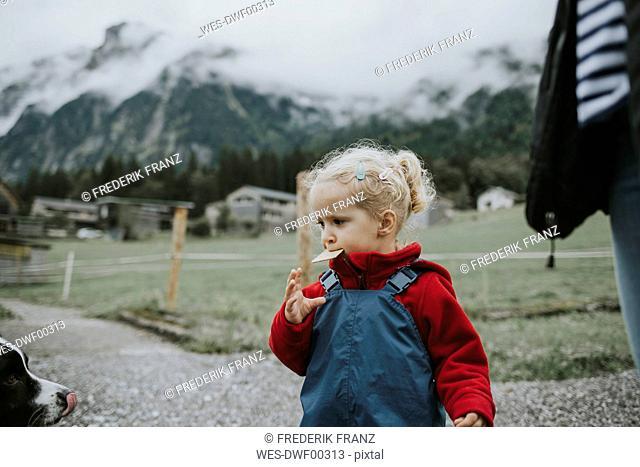 Austria, Vorarlberg, Mellau, toddler eating a cake during a trip in the mountains