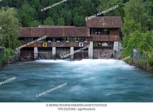 river Aare with sluice, Interlaken, Bernese Oberland, Switzerland