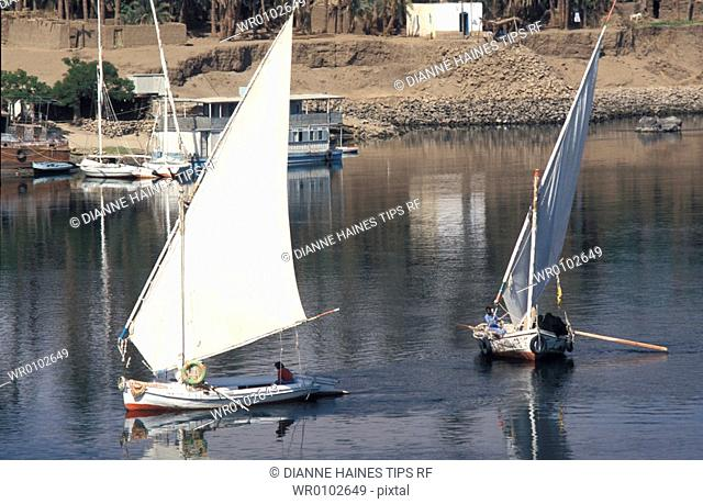 Africa, Egypt, Assuan, sailboats on river Nile