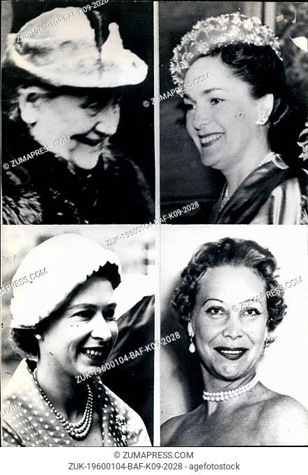 1968 - Top: Ex-Queen Wilhelmina of Holland, Begum Om Habibeh Aga Khan. Bottom: Queen Elizabeth II of England, Suzanne Volterra