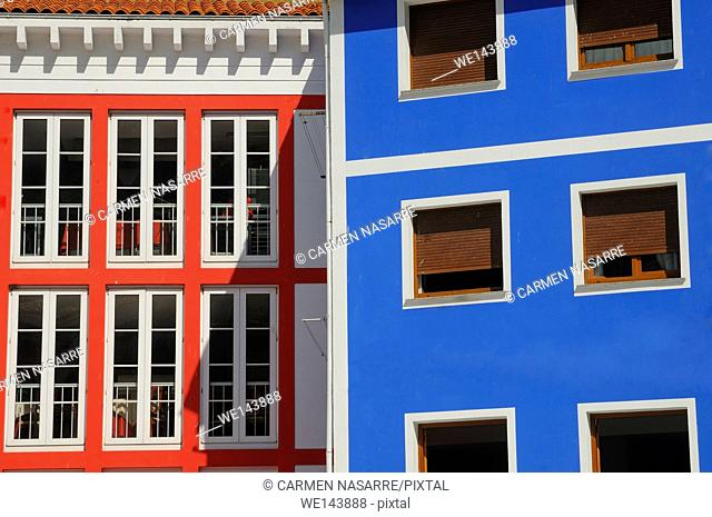 Detail of colorful facades in Cudillero village, Asturias