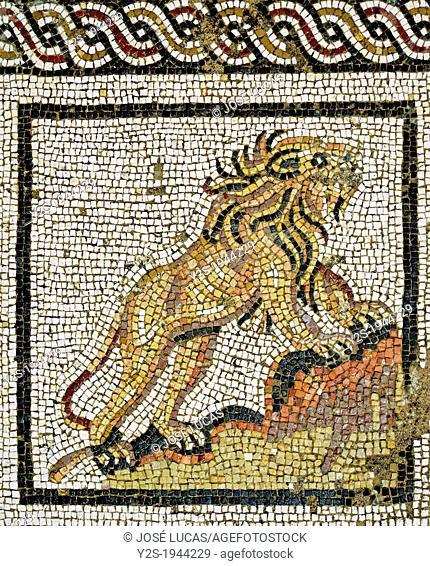 Mosaic floor - Lion, House of Neptune, Roman ruins of Italica -2nd century, Santiponce, Seville-province, Spain
