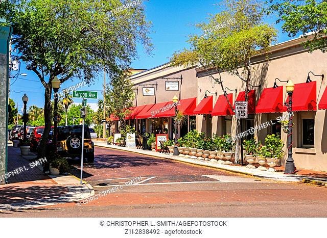 Stores on Hibiscus Street in downtown historic Tarpon Springs, Florida