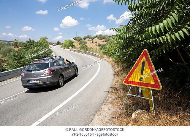 Warning sign along the IP4 highway between Bragança and Macedo - Bragança District, Norte Region, Portugal