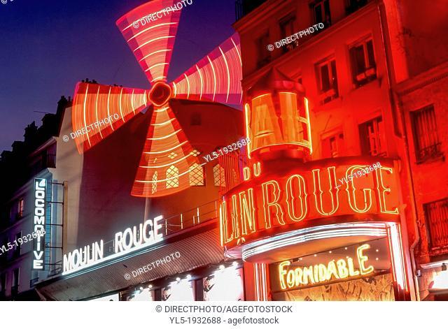 Paris, France, Montmartre Theatre LE MOULIN ROUGE CABARET, Night