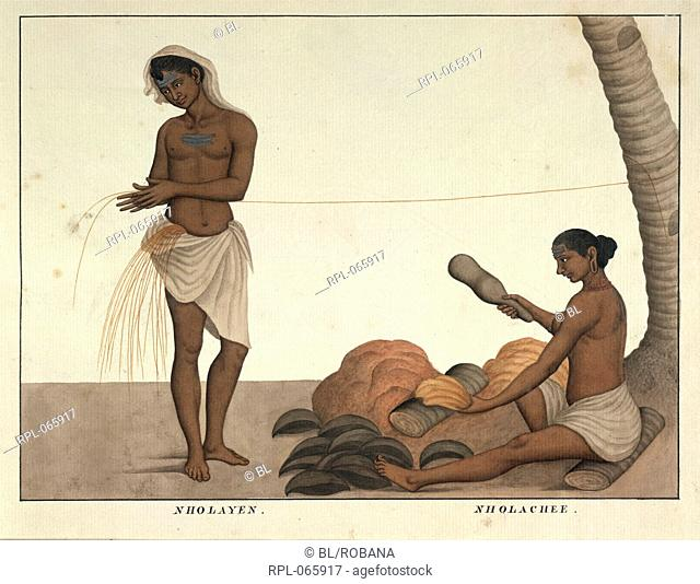 Coir yarn-makers, the man making coconut-fibre string, the woman beating coconut-fibre. Watercolour. Originally published/produced in c.1828