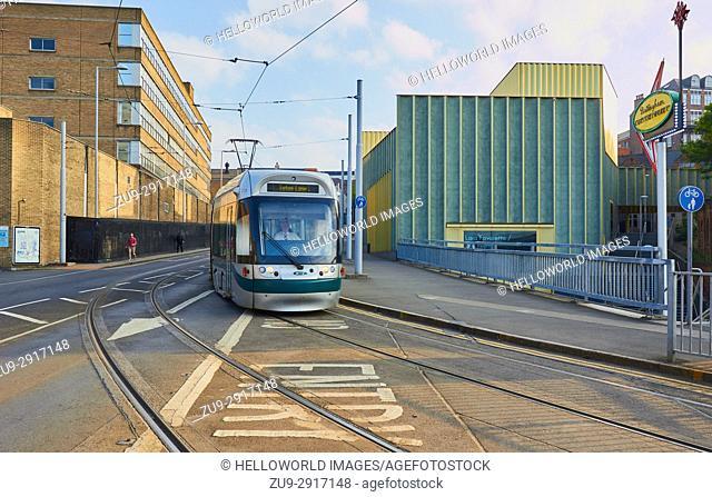 Tram passing Nottingham Contemporary Gallery, Nottingham, Nottinghamshire, east Midlands, England