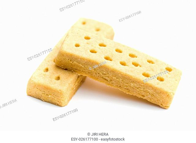 sweet shortbread fingers on white background