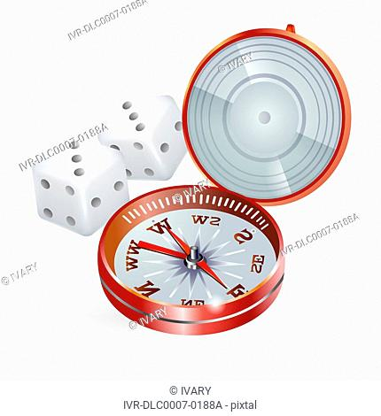 Illustration of direction compass and dice