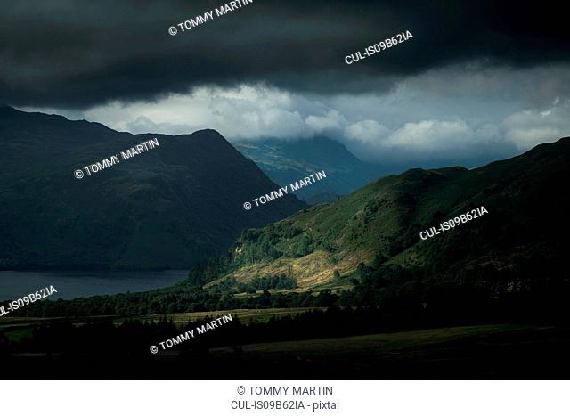 Ullswater and storm clouds, The Lake District, UK