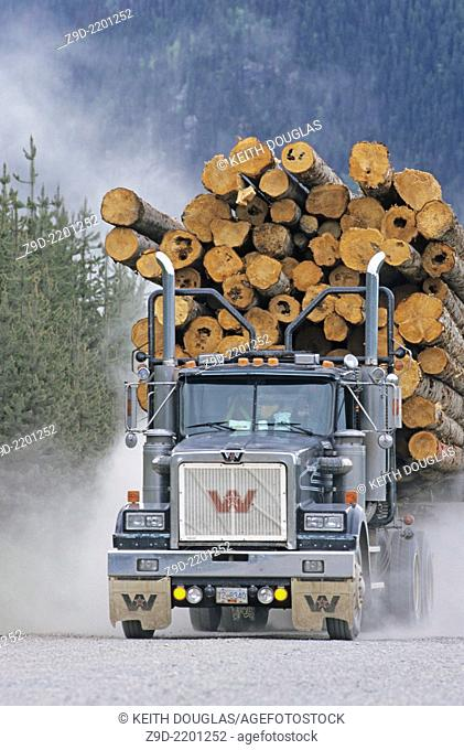 Loaded logging truck, Houston,BC,Canada