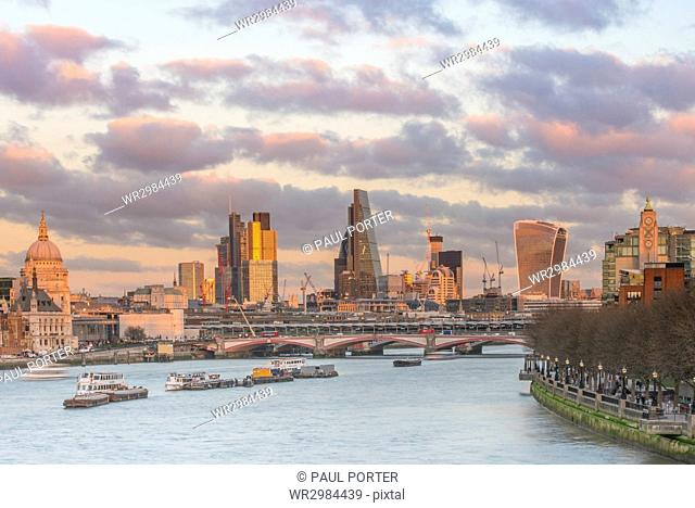 A glow over The City of London at sunset, London, England, United Kingdom, Europe