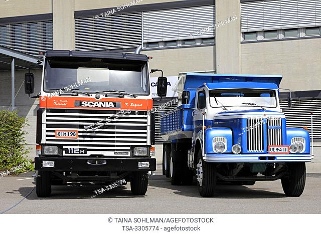 Helsinki, Finland. 09 May, 2019. Classic Scania trucks, from left cab over Scania 112H and conventional cab Scania 111 on Scania Suomi 70 Years Anniversary...