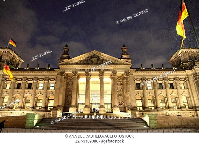 Reichstag in Berlin by night - Parliament at Christmas time