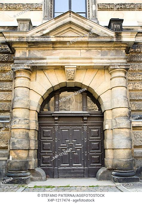One of the entryways of the Art Academy in Dresden, Germany