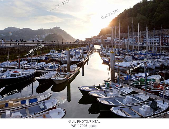 Boats moored in the port Port of Donostia-San Sebastian  European Capital of Culture 2016 Guipuzcoa, Basque Country  Spain