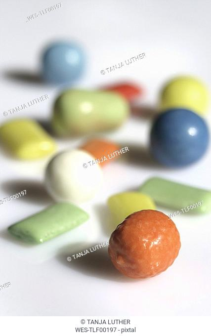 Chewing gums, close-up