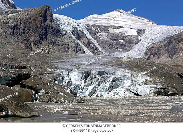 Glacier tongue, Glacier Pasterze with Johannisberg, Grossglockner, Carinthia, Austria