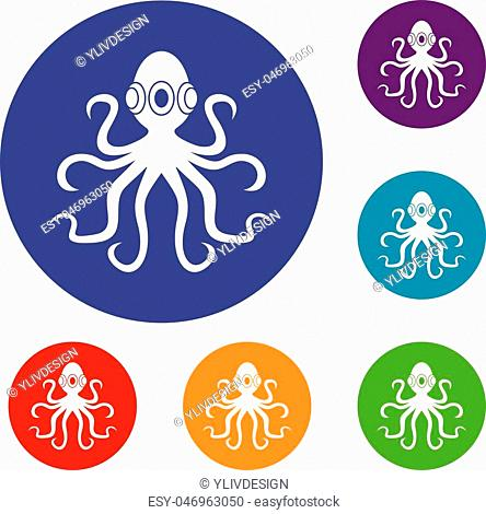 Octopus icons set in flat circle red, blue and green color for web