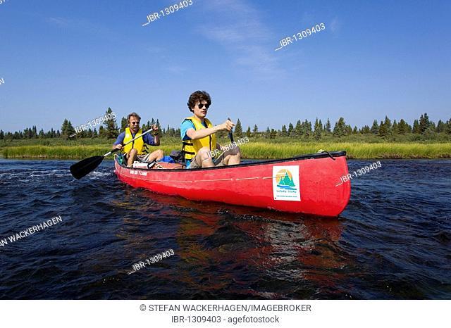 Two men in canoe, paddling, canoeing, Caribou Lakes, upper Liard River, Yukon Territory, Canada