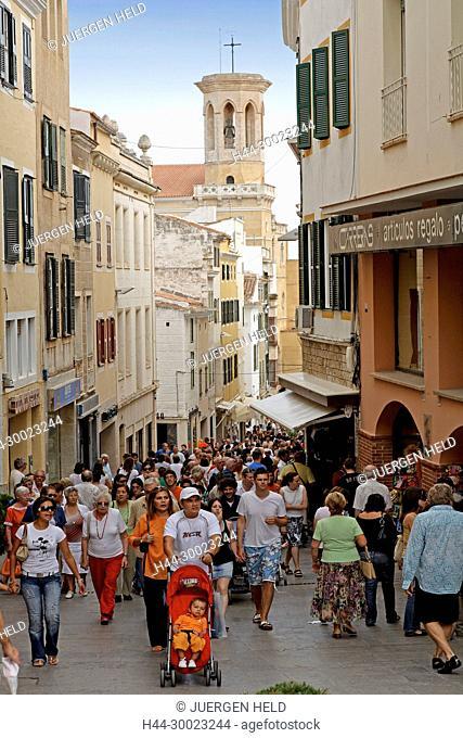 Spain Menorca Mahon old city center . Rush hour on main shopping street