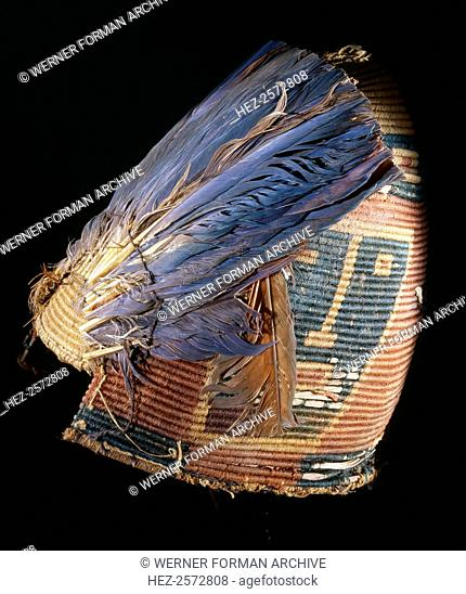 Fez style hat with feather plumes, Stock Photo, Picture And