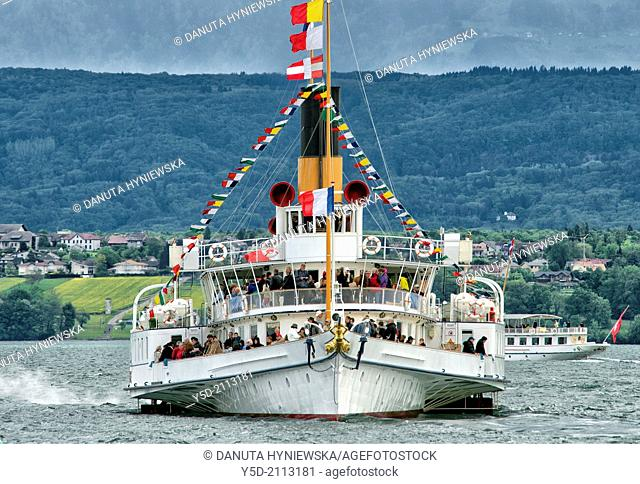 Ancient steamboat Geneva Lake, there are still several ancient steamboats having regular cruises on the lake, Switzerland, Europe