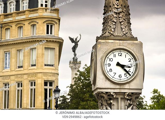 Clock in the Place de la Comedie, Bordeaux. Aquitaine Region, Gironde Department. France Europe