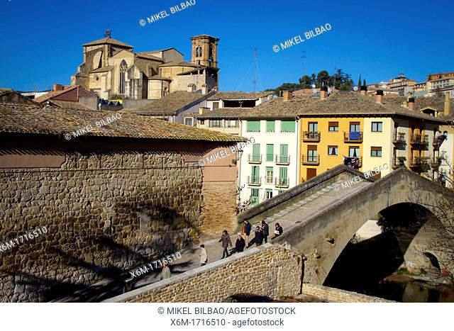 Jail bridge and San Miguel church  Estella, Navarre, Spain